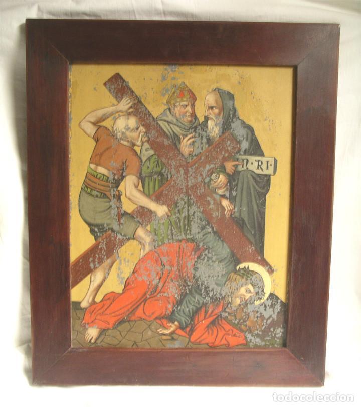 PASO VIA CRUCIS OLEO SOBRE ESTAÑO MITAD S XIX, MARCO CAOBA MACIZO. MED. 42 X 52 CM (Arte - Arte Religioso - Pintura Religiosa - Oleo)