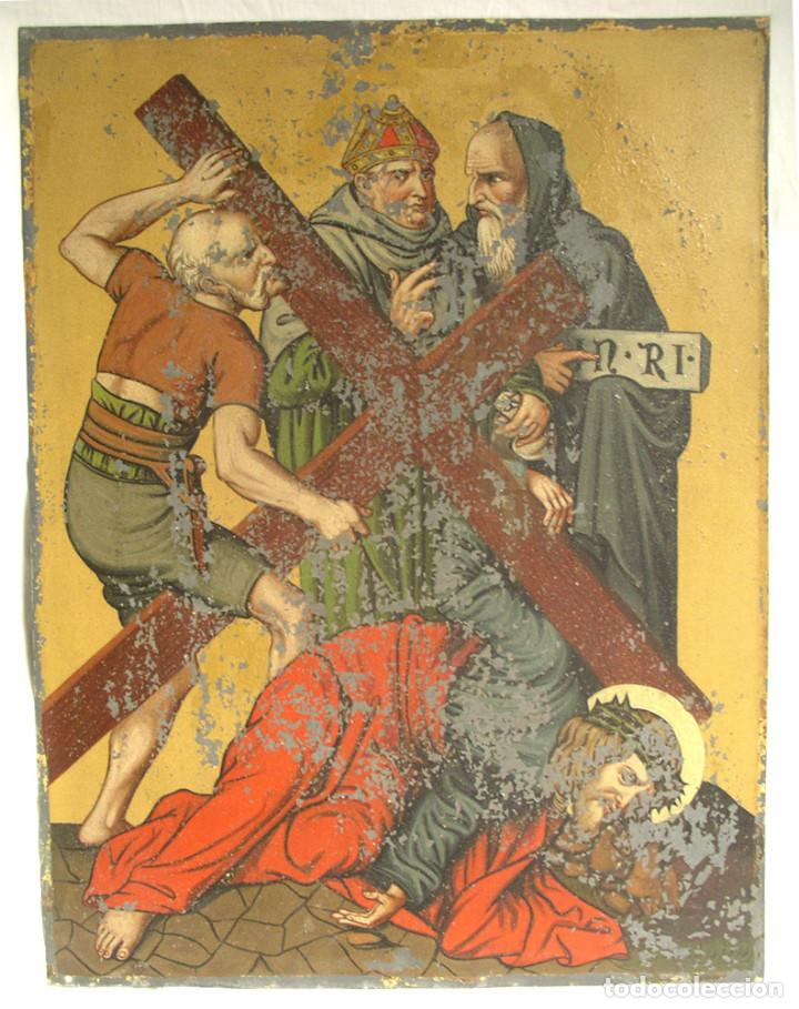 Arte: Paso Via Crucis Oleo sobre estaño mitad S XIX, marco caoba macizo. Med. 42 x 52 cm - Foto 2 - 199788645