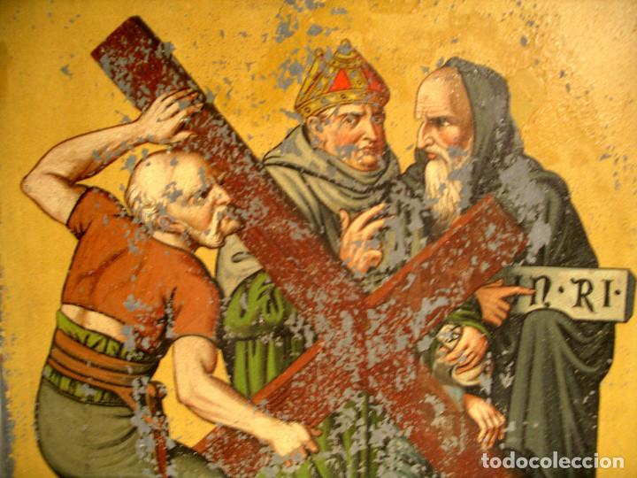 Arte: Paso Via Crucis Oleo sobre estaño mitad S XIX, marco caoba macizo. Med. 42 x 52 cm - Foto 3 - 199788645