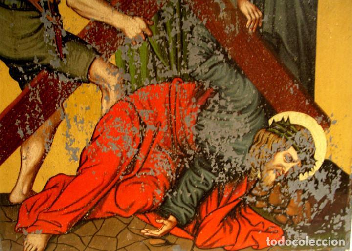 Arte: Paso Via Crucis Oleo sobre estaño mitad S XIX, marco caoba macizo. Med. 42 x 52 cm - Foto 4 - 199788645