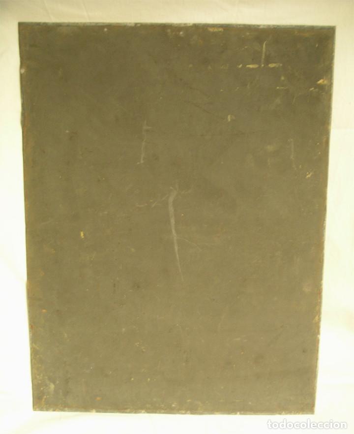 Arte: Paso Via Crucis Oleo sobre estaño mitad S XIX, marco caoba macizo. Med. 42 x 52 cm - Foto 5 - 199788645