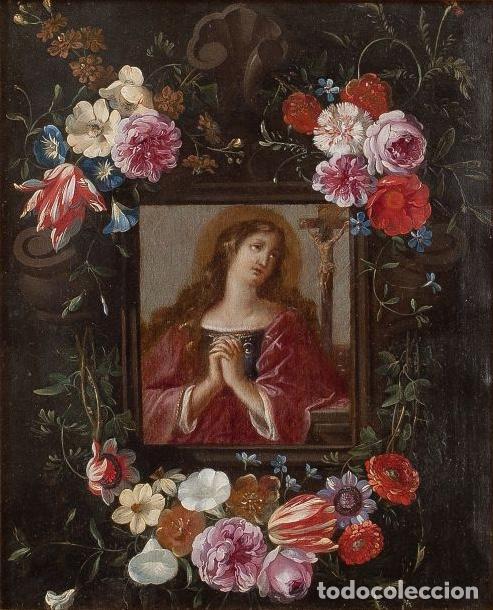 Arte: JAN VAN KESSEL EL VIEJO THE ELDER Mary Magdalene in Flower Box Maria Magdalena Óleo sobre cobre - Foto 5 - 141511622