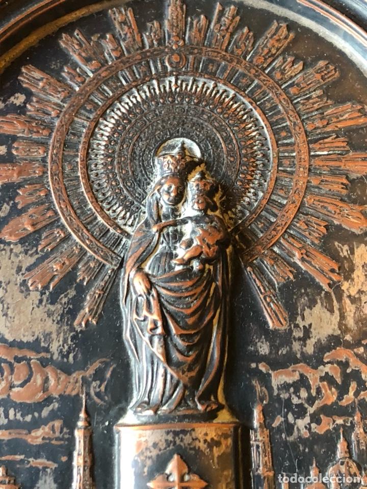 Arte: Placa enmarcada de la virgen del pilar antigua - Foto 2 - 199872990