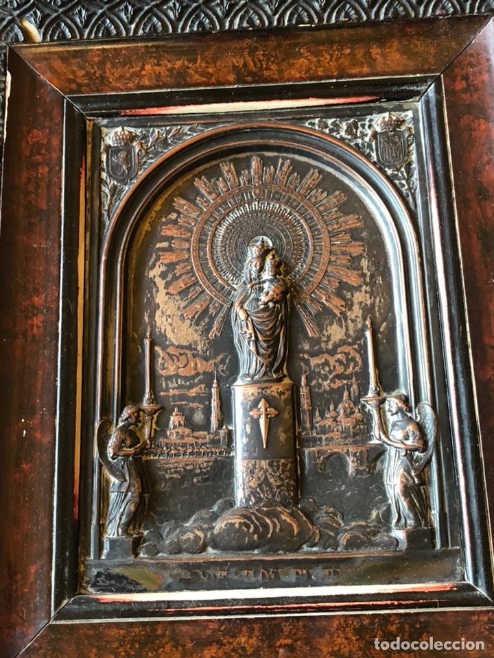 PLACA ENMARCADA DE LA VIRGEN DEL PILAR ANTIGUA (Arte - Arte Religioso - Iconos)