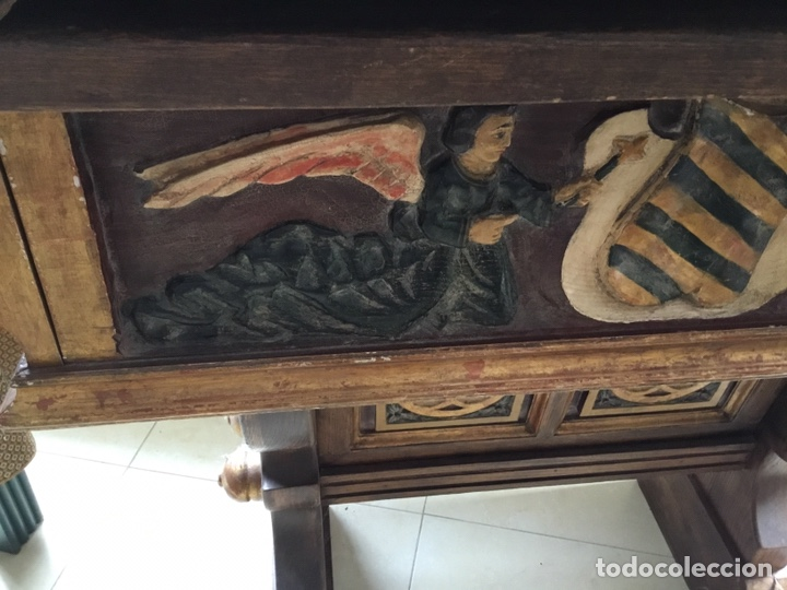 Arte: Antigua mesa tallada y policromada - Foto 2 - 199975780