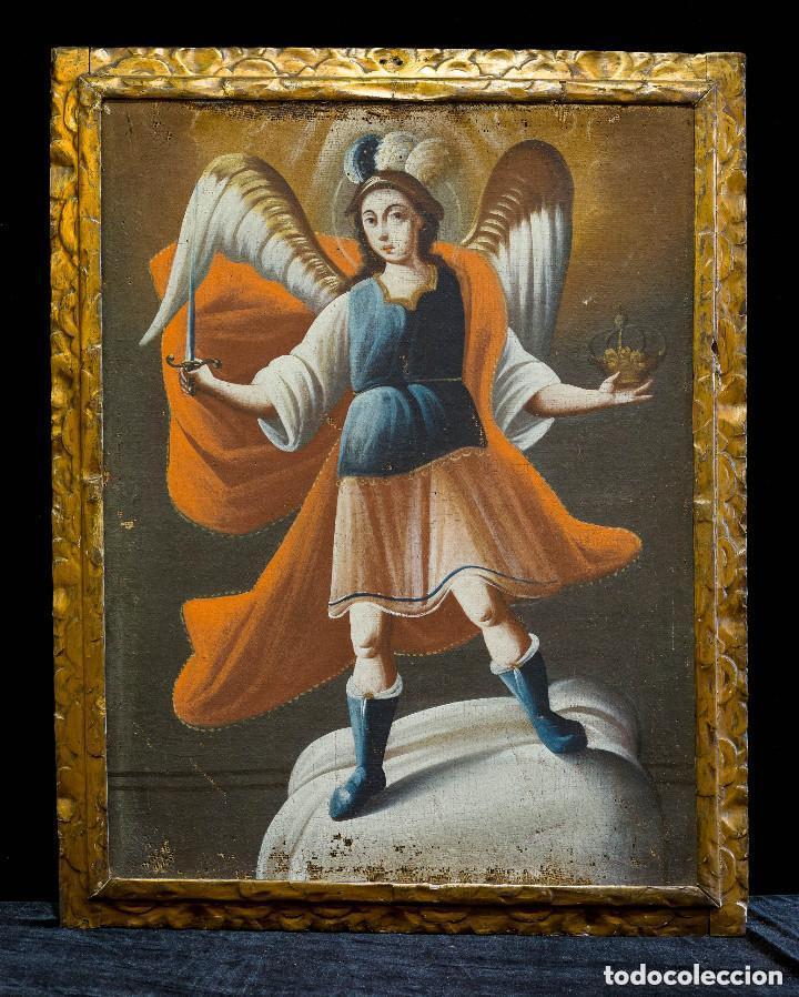 SAN MIGUEL ARCÁNGEL. ÓLEO SOBRE LIENZO. ESCUELA COLONIAL, S. XVII. (Arte - Arte Religioso - Pintura Religiosa - Oleo)