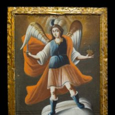Arte: SAN MIGUEL ARCÁNGEL. ÓLEO SOBRE LIENZO. ESCUELA COLONIAL, S. XVII.. Lote 199990497