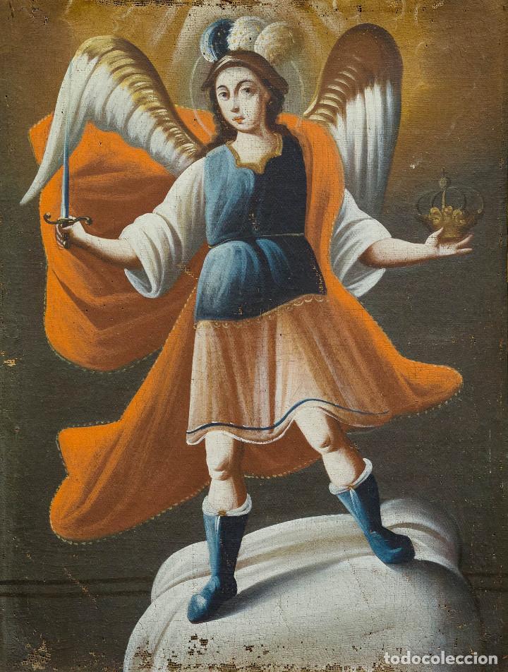 Arte: San Miguel Arcángel. Óleo sobre lienzo. Escuela colonial, s. XVII. - Foto 2 - 199990497