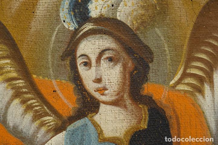 Arte: San Miguel Arcángel. Óleo sobre lienzo. Escuela colonial, s. XVII. - Foto 4 - 199990497