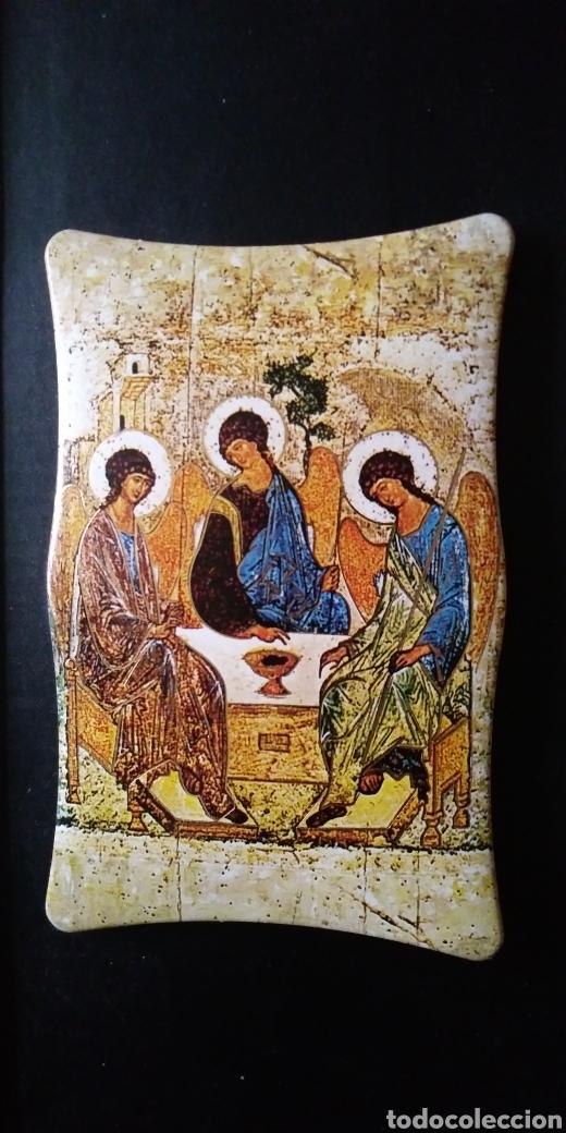 Arte: LA SANTÍSIMA TRINIDAD con antiguo cuadro - Foto 2 - 200040653