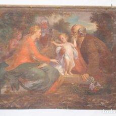 Arte: SAGRADA FAMILIA CON SANTA ANA, PINTADA SOBRE SARGA. Lote 200085025