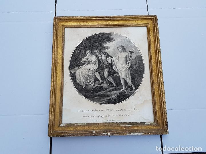 GRABADO MUY ANTIGUO CON SU MARCO DORADO DE EPOCA,SIGLO XVII-XVIII APROX (Arte - Arte Religioso - Grabados)