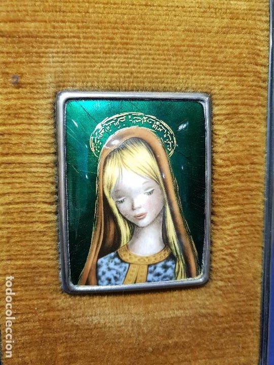 Arte: Virgen Niña. Esmalte con marco de plata con marcas. - Foto 3 - 200175336
