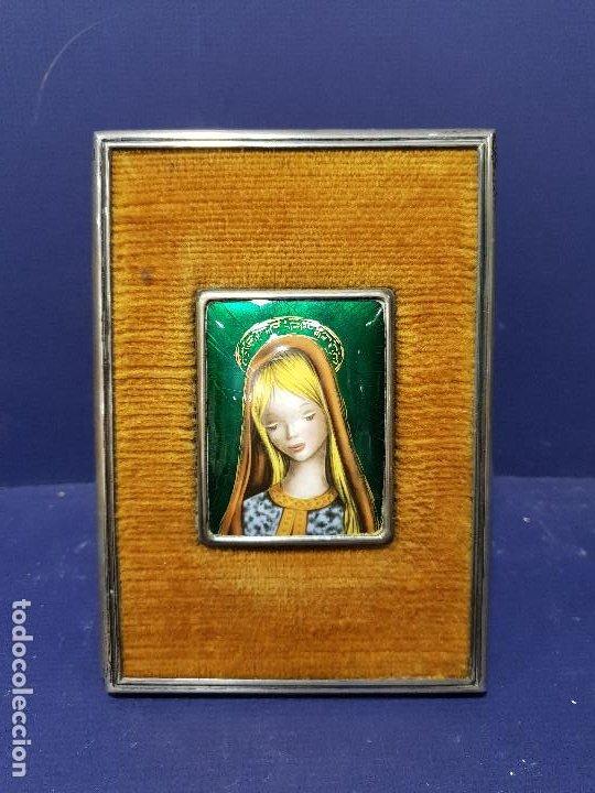 Arte: Virgen Niña. Esmalte con marco de plata con marcas. - Foto 2 - 200175336