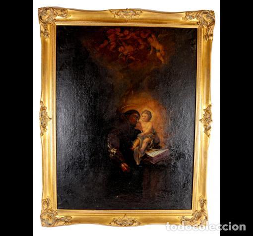 SAN ANTONIO CON NIÑO. ESCUELA ESPAÑOLA. MARCO EXCELENTE. LIENZO 86X63. (Arte - Arte Religioso - Pintura Religiosa - Oleo)