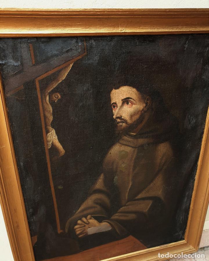 Arte: San Francisco. Importante pintura tenebrista. Óleo sobre lienzo. Siglo XVII. Círculo Luis Tristán. - Foto 3 - 200340810