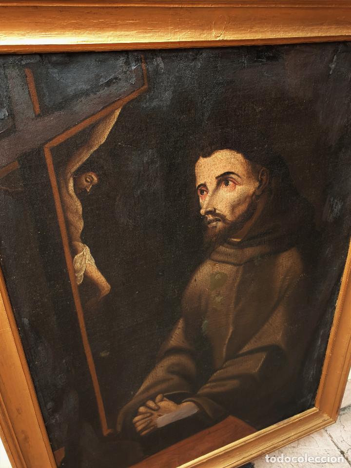 Arte: San Francisco. Importante pintura tenebrista. Óleo sobre lienzo. Siglo XVII. Círculo Luis Tristán. - Foto 2 - 200340810