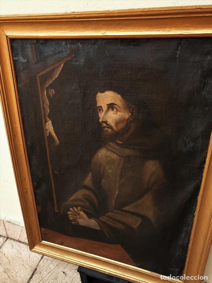 Arte: San Francisco. Importante pintura tenebrista. Óleo sobre lienzo. Siglo XVII. Círculo Luis Tristán. - Foto 4 - 200340810