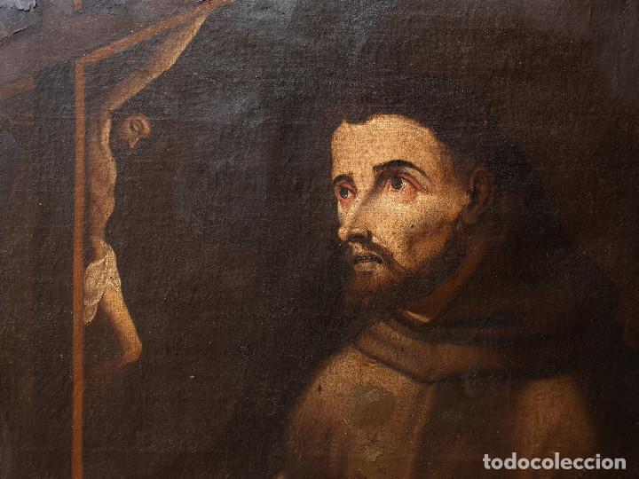 Arte: San Francisco. Importante pintura tenebrista. Óleo sobre lienzo. Siglo XVII. Círculo Luis Tristán. - Foto 7 - 200340810