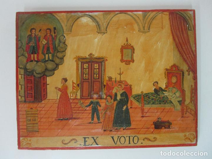 Arte: Precioso Ex Voto - Retablo - Óleo sobre Tabla - Escuela Catalana - San Cosme y San Damian - Año 1828 - Foto 2 - 200649890
