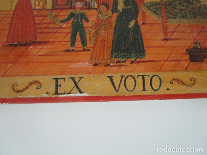 Arte: Precioso Ex Voto - Retablo - Óleo sobre Tabla - Escuela Catalana - San Cosme y San Damian - Año 1828 - Foto 4 - 200649890