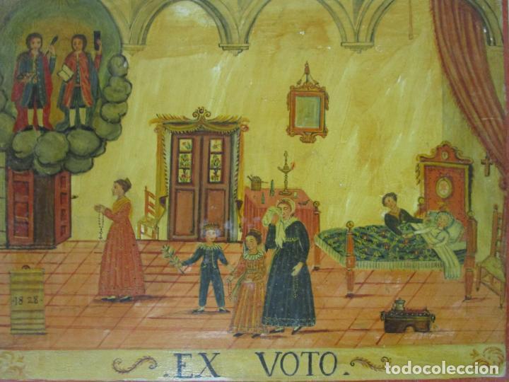 Arte: Precioso Ex Voto - Retablo - Óleo sobre Tabla - Escuela Catalana - San Cosme y San Damian - Año 1828 - Foto 5 - 200649890