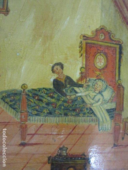 Arte: Precioso Ex Voto - Retablo - Óleo sobre Tabla - Escuela Catalana - San Cosme y San Damian - Año 1828 - Foto 6 - 200649890