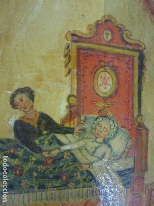 Arte: Precioso Ex Voto - Retablo - Óleo sobre Tabla - Escuela Catalana - San Cosme y San Damian - Año 1828 - Foto 7 - 200649890