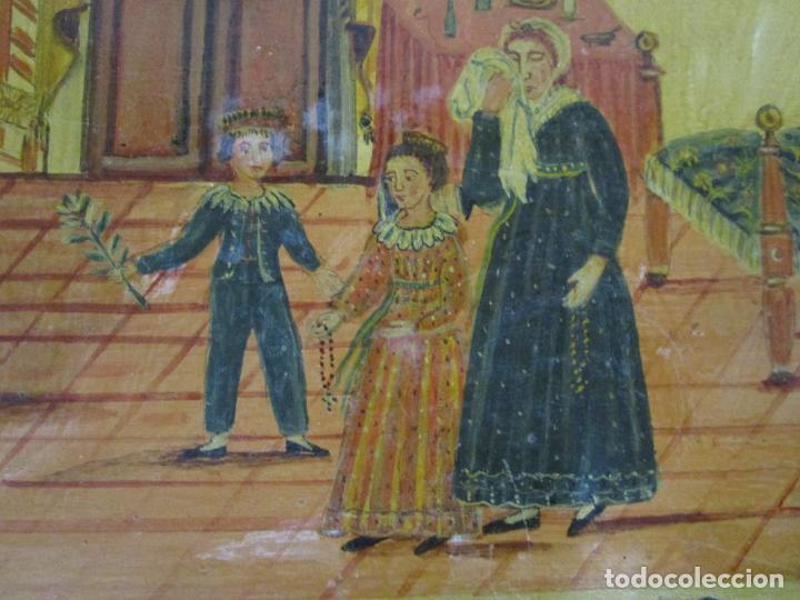 Arte: Precioso Ex Voto - Retablo - Óleo sobre Tabla - Escuela Catalana - San Cosme y San Damian - Año 1828 - Foto 8 - 200649890
