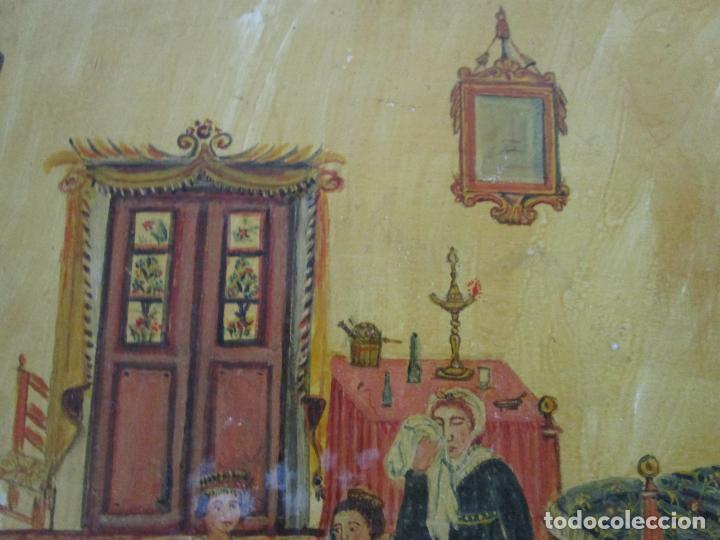 Arte: Precioso Ex Voto - Retablo - Óleo sobre Tabla - Escuela Catalana - San Cosme y San Damian - Año 1828 - Foto 9 - 200649890