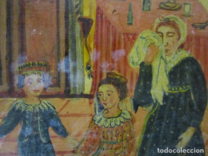 Arte: Precioso Ex Voto - Retablo - Óleo sobre Tabla - Escuela Catalana - San Cosme y San Damian - Año 1828 - Foto 10 - 200649890