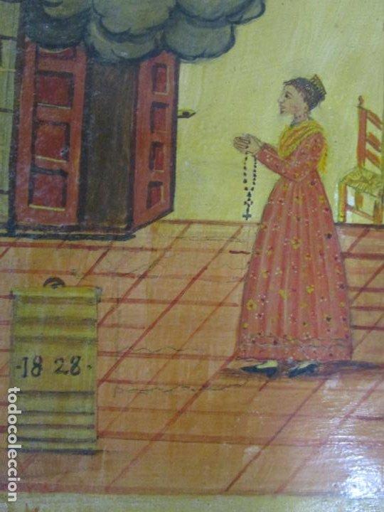 Arte: Precioso Ex Voto - Retablo - Óleo sobre Tabla - Escuela Catalana - San Cosme y San Damian - Año 1828 - Foto 11 - 200649890