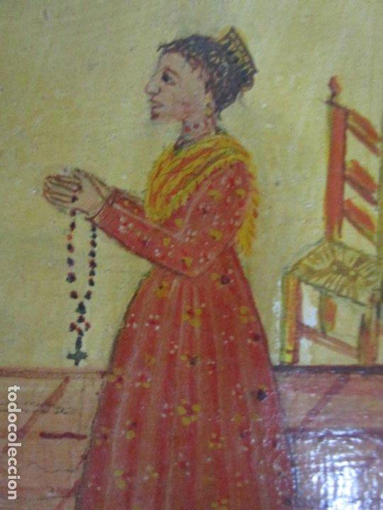 Arte: Precioso Ex Voto - Retablo - Óleo sobre Tabla - Escuela Catalana - San Cosme y San Damian - Año 1828 - Foto 12 - 200649890