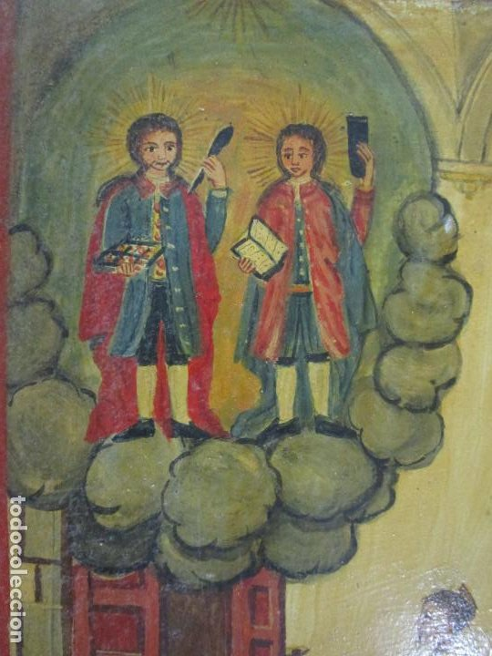Arte: Precioso Ex Voto - Retablo - Óleo sobre Tabla - Escuela Catalana - San Cosme y San Damian - Año 1828 - Foto 14 - 200649890