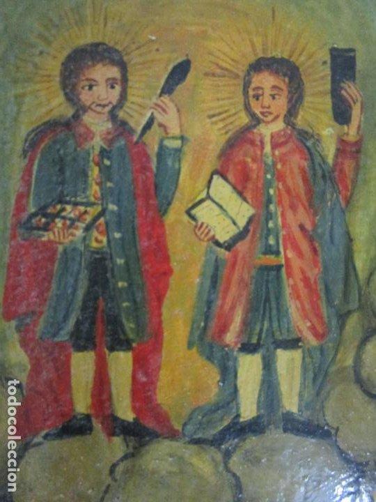 Arte: Precioso Ex Voto - Retablo - Óleo sobre Tabla - Escuela Catalana - San Cosme y San Damian - Año 1828 - Foto 15 - 200649890
