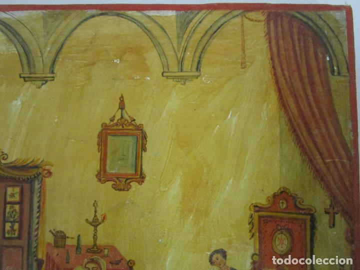 Arte: Precioso Ex Voto - Retablo - Óleo sobre Tabla - Escuela Catalana - San Cosme y San Damian - Año 1828 - Foto 16 - 200649890