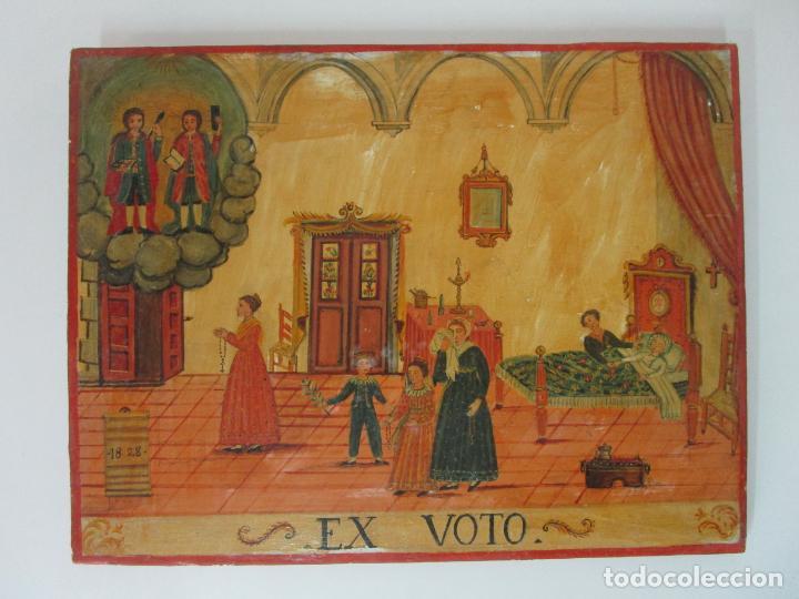 Arte: Precioso Ex Voto - Retablo - Óleo sobre Tabla - Escuela Catalana - San Cosme y San Damian - Año 1828 - Foto 17 - 200649890