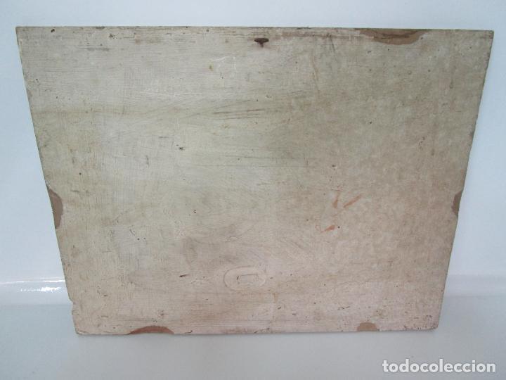 Arte: Precioso Ex Voto - Retablo - Óleo sobre Tabla - Escuela Catalana - San Cosme y San Damian - Año 1828 - Foto 18 - 200649890
