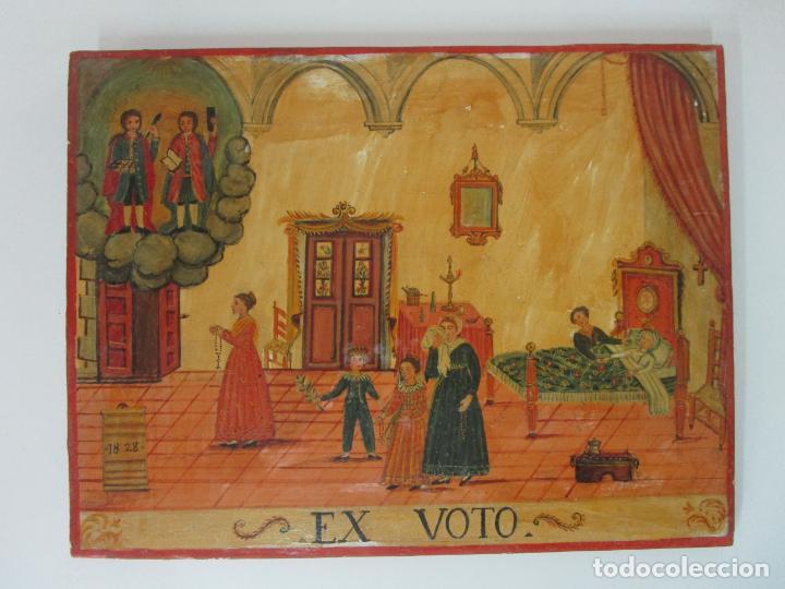 Arte: Precioso Ex Voto - Retablo - Óleo sobre Tabla - Escuela Catalana - San Cosme y San Damian - Año 1828 - Foto 19 - 200649890