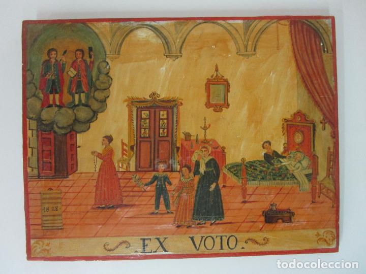 PRECIOSO EX VOTO - RETABLO - ÓLEO SOBRE TABLA - ESCUELA CATALANA - SAN COSME Y SAN DAMIAN - AÑO 1828 (Arte - Arte Religioso - Pintura Religiosa - Oleo)