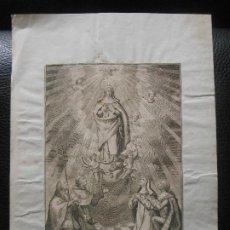 Arte: SIGLO XVIII GRABADO CON VIRGEN Y SANTOS - RELIGION. Lote 200811537