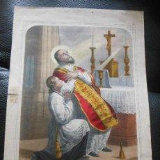 Arte: SIGLO XIX SAN ANDRÉ AVELIN ANDREA AVELLINO ITALIA GRABADO COLOREADO - RELIGION. Lote 200812748