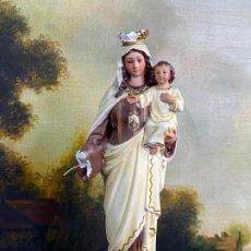 Arte: ESCULTURA RELIGIOSA VIRGEN CON NIÑO 33 CM DE ALTO. Lote 200815873