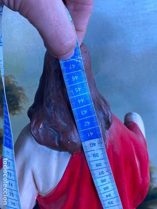 Arte: Antiguo sagrado corazon de jesus en estuco de 51 cm de altura - Muy buen estado - Foto 3 - 200830875