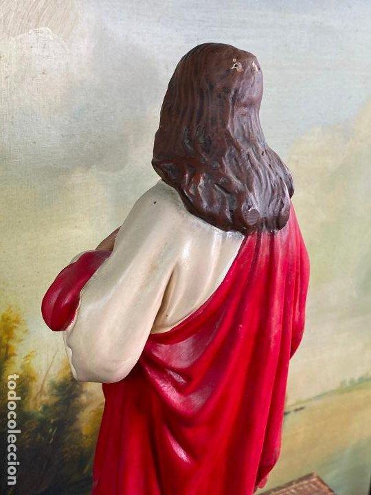 Arte: Antiguo sagrado corazon de jesus en estuco de 51 cm de altura - Muy buen estado - Foto 4 - 200830875