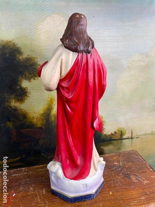 Arte: Antiguo sagrado corazon de jesus en estuco de 51 cm de altura - Muy buen estado - Foto 5 - 200830875