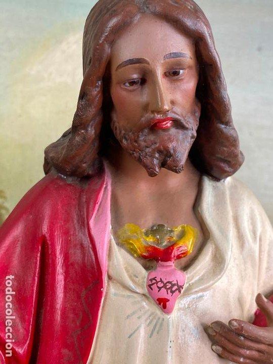Arte: Antiguo sagrado corazon de jesus en estuco de 51 cm de altura - Muy buen estado - Foto 6 - 200830875