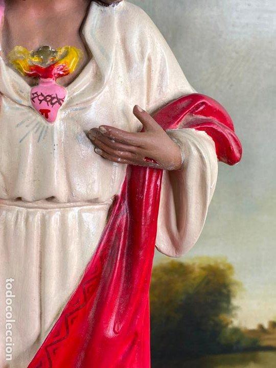Arte: Antiguo sagrado corazon de jesus en estuco de 51 cm de altura - Muy buen estado - Foto 7 - 200830875