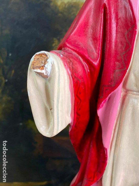 Arte: Antiguo sagrado corazon de jesus en estuco de 51 cm de altura - Muy buen estado - Foto 8 - 200830875