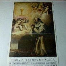 Arte: LAMINA RELIGIOSA DE SAN PASCUAL.64 X 35 CM.. Lote 201172480